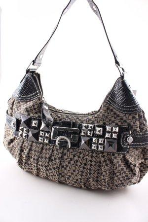 Guess Handtasche creme-schwarz Monogram-Muster Materialmix-Look