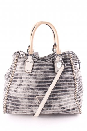 Guess Handtasche grau-dunkelgrau Streifenmuster Casual-Look