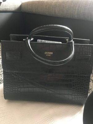 Guess Handtasche Henkeltasche schwarz Leder Kroko Design
