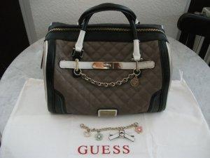 GUESS Handtasche im Bowling Stil, taupe-weiß-schwarz