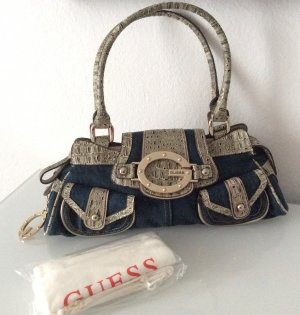 GUESS-Handtasche (Original) in Jeansoptik mit massiver Labelschnalle