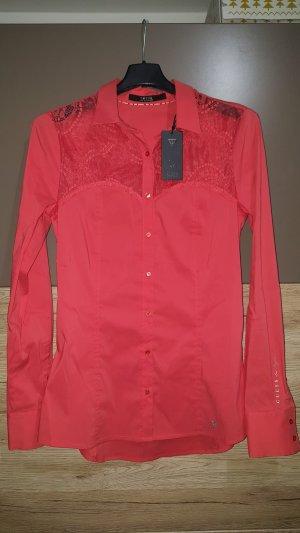 Guess Camisa de vestir rojo claro