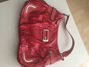 Guess Henkeltasche in rotem Lack und Croco-Optik