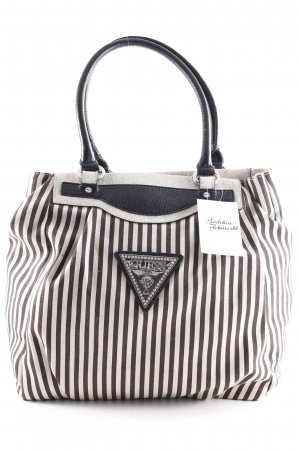 Guess Carry Bag black-cream striped pattern street-fashion look