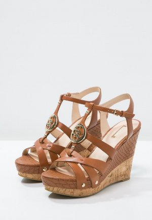 Guess High Heel Sandaletten Keilsandaletten Echtleder braun 38 NEU