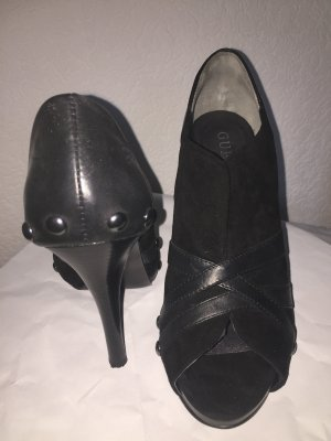 Guess Peep Toe Booties black leather