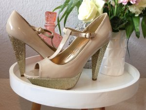 Guess High Heels Peeptoes 39 nude Glitzer