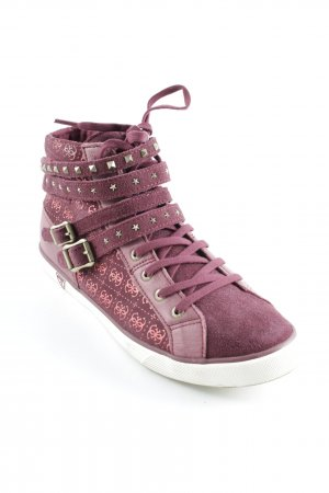 Guess High Top Sneaker bordeauxrot-goldfarben Casual-Look
