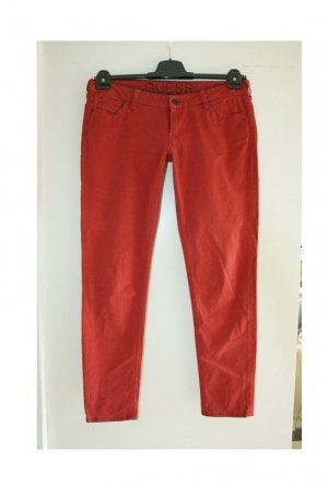 Guess Low-Rise Trousers russet-carmine cotton