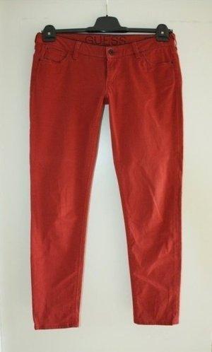 Guess Pantalon taille basse rouille tissu mixte