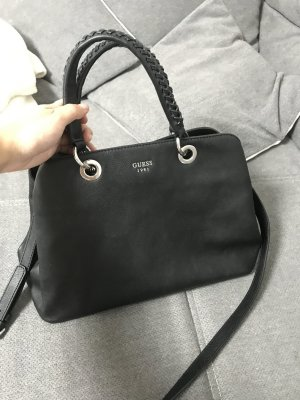 Guess Satchel black-silver-colored polyurethane