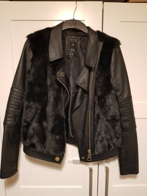 Guess Faux Leather Jacket black imitation leather