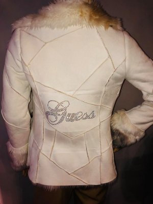 Guess Jacke mit Fell in gr 36 Farbe Weiss Strass