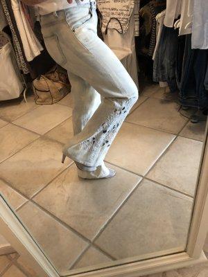 Guess Pantalon pattes d'éléphant bleu azur