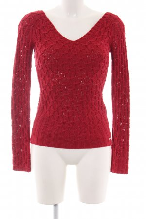 Guess Jeans Häkelpullover rot Zopfmuster Casual-Look