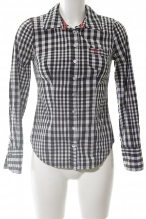 Guess Jeans Hemd-Bluse schwarz-weiß Karomuster Casual-Look
