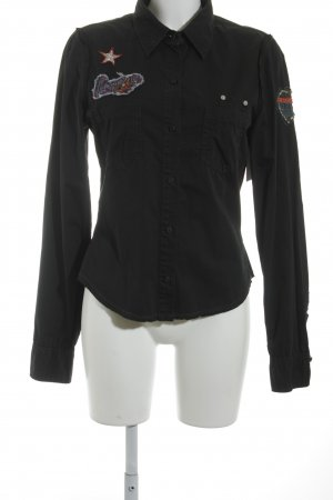 Guess Jeans Hemd-Bluse schwarz abstraktes Muster Casual-Look