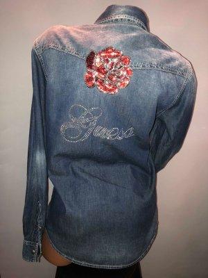 Guess Jeans Hemd in gr 38/40 Dunkel Blau Rose Strass