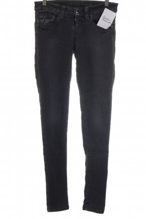Guess Jeans Hüftjeans dunkelgrau Logo-Applikation aus Leder