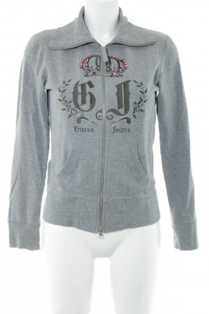 Guess Jeans Kapuzensweatshirt hellgrau-pink Motivdruck Casual-Look