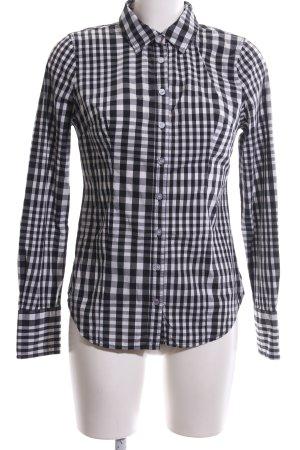 Guess Jeans Langarmhemd schwarz-weiß Karomuster Casual-Look