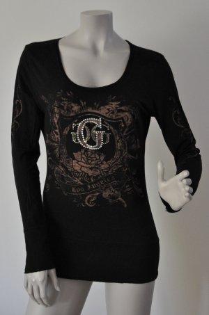 Guess Jeans Langarmshirt schwarz mit Muster und Glitzer Gr. M WIE NEU