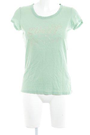 Guess Jeans T-Shirt hellgrün-altrosa Schriftzug gedruckt Casual-Look