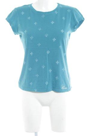 Guess Jeans T-Shirt kadettblau-himmelblau Motivdruck Casual-Look