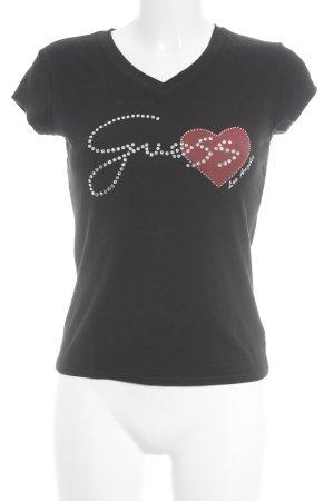 Guess Jeans T-Shirt schwarz Schriftzug gedruckt Street-Fashion-Look