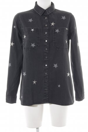 Guess Denim Shirt anthracite-silver-colored star pattern casual look