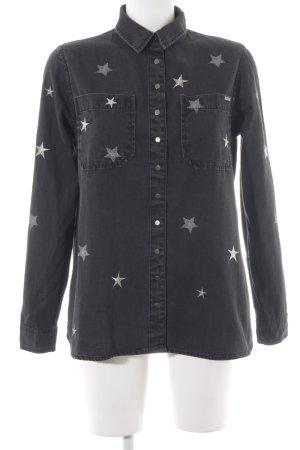 Guess Camisa vaquera gris antracita-color plata Patrón de estrellas look casual