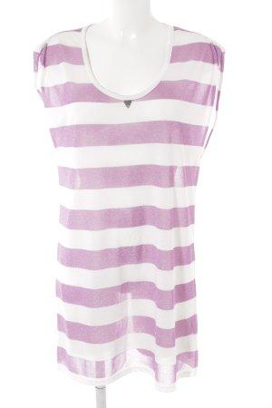 Guess Jerseykleid weiß-lila Streifenmuster Beach-Look