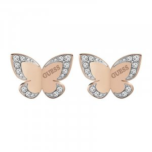 Guess Jewellery Ohrstecker Schmetterling Gold mit Steinen