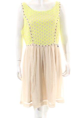 Guess Vestido crema-amarillo neón elegante