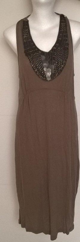 Guess Vestido de cuello Halter marrón grisáceo