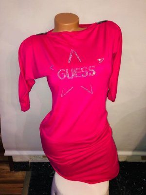 Guess Kleid Tunika Bluse in gr 38 Farbe Pink Strass
