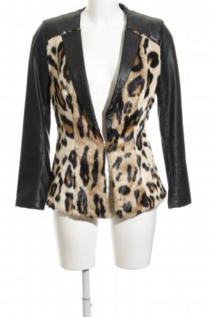Guess Fake Fur Jacket leopard pattern faux leather trimming