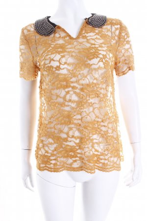 Guess Kurzarm-Bluse apricot florales Muster Romantik-Look