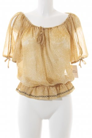 Guess Kurzarm-Bluse weiß-goldfarben florales Muster schlichter Stil
