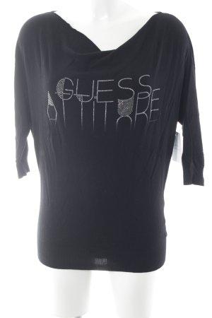 Guess Jersey de manga corta negro letras impresas look casual