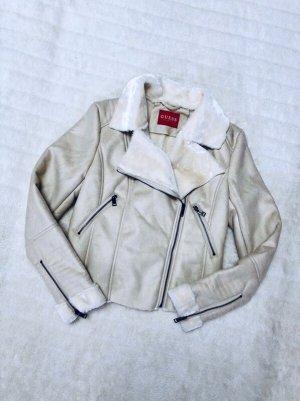 Guess kurze Jacke Lederjacke Bikerjacke Wildleder-Look Kunstfell Velours Creme  - Größe S (36)