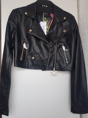 GUESS kurze Lederjacke M schwarz Bikerjacke NP 129.95 €