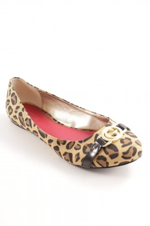 Guess Patent Leather Ballerinas sand brown-light brown leopard pattern