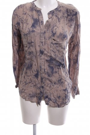 Guess Langarm-Bluse nude-blau abstraktes Muster Casual-Look