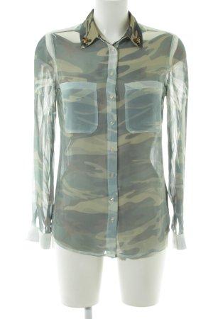 Guess Langarm-Bluse khaki Camouflagemuster extravaganter Stil