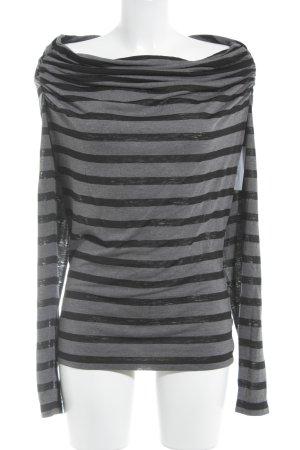 Guess Langarm-Bluse schwarz-grau Streifenmuster Casual-Look
