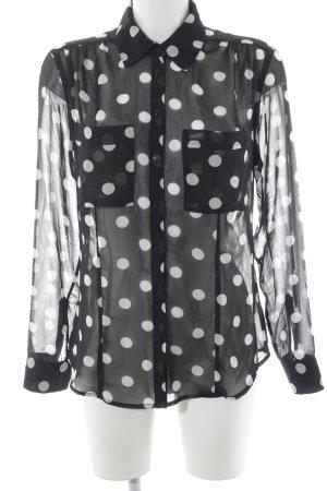 Guess Blusa de manga larga negro-blanco estampado a lunares look casual