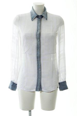 Guess Blusa de manga larga blanco-azul pálido look casual