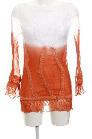 Guess Langarm-Bluse weiß-orange extravaganter Stil