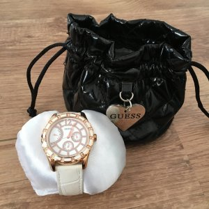 Guess Reloj con pulsera de cuero blanco-color oro Cuero